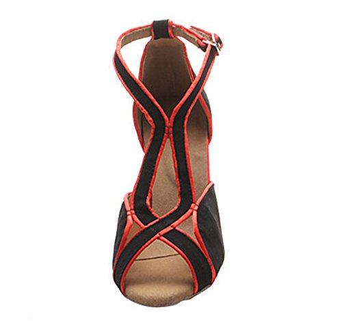 Miyoopark ,  Damen Tanzschuhe , rot - Black/Red-10cm heel - Größe: 35