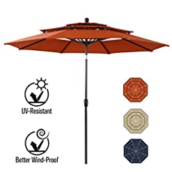Garden and Outdoor PHI VILLA 10ft Patio Umbrella Outdoor 3 Tier Vented Table Umbrella with 8 Sturdy Ribs (Orange Red) patio umbrellas