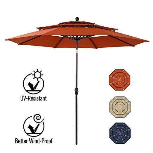 Garden and Outdoor PHI VILLA 10ft Patio Umbrella Outdoor 3 Tier Vented Table Umbrella with 8 Sturdy Ribs (Orange Red) patio umbrellas