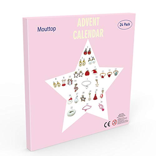 Mouttop Advent Calendar,Charm Bracelet DIY 23Charms with 1 Bracelet Fashion Jewelry Christams Advent Calendars for Kids(2018 Pink) (Pink-Star)
