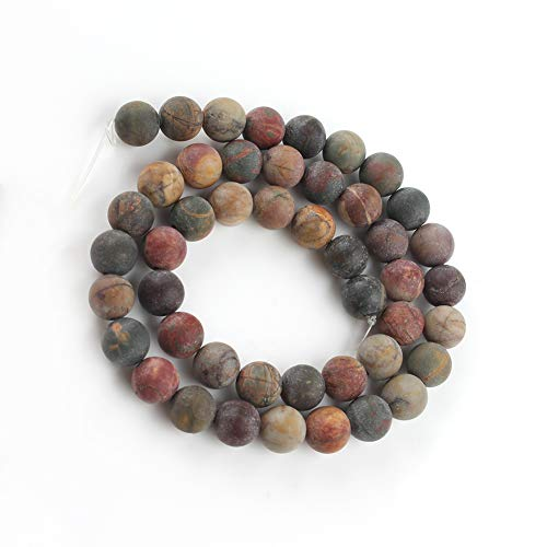 Yochus 10mm Dull Polish Matte Picasso Round Loose Beads Natural Stone Beads for Jewelry Making