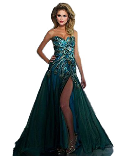 CoCoGirls Sexy Peacock Prom Dress Formal Evening Party Dresses Gown