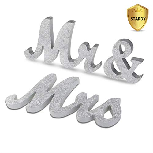 HAOLIVE Vintage Style Mr and Mrs Sign Mr & Mrs Wooden Letters Wedding Sign with Silver Glitter for Christmas Decorations,Wedding Table,Photo Props,Party Table,Top Dinner Decoration(Glitter (Wedding Top Table Decorations)