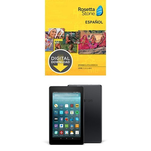"""Rosetta Stone Spanish (Latin America) Level 1-5 Set for Mac with Fire 7 Tablet with Alexa, 7"""" Display, 8 GB, Black - with Special Offers"""