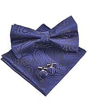 Massi Morino Set de nœud papillon Paisley - avec nœud papillon, pochette, boutons de manchette, boîte cadeau incluse, nœud papillon homme dans différentes couleurs (Bordeaux)