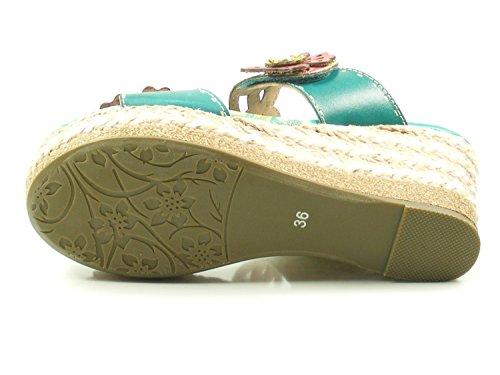 Laura Vita CX2713-1 Dauphin 01 Schuhe Damen Sandalen Keil Pantoletten Blau