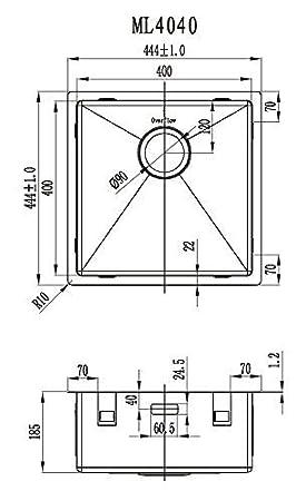 Lavabo de cuisine carr/é 1 bac Evier de cuisine acier inoxydable 40 cm