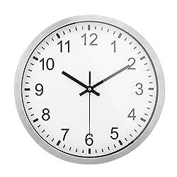 Kumeida Silent Non-Ticking Wall Clock, Modern Quartz Design, Stainless Steel Frame - 12 inch
