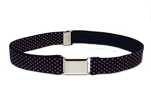 Polka Dots Belt Buckle (Buyless Fashion Kids And Baby Adjustable And Elastic Dress Stretch Belt With Silver Buckle - Navy Orange Polka)