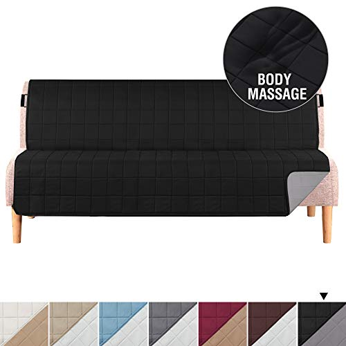 """H.VERSAILTEX Reversible Futon Covers for Living Room, Non-Slip Futon Covers for Dogs, Foam Quilted Futon Slipcover with 2"""" Strap, Seat Width Up to 70"""" Machine Washable Covers for Futon (Black/Grey)"""