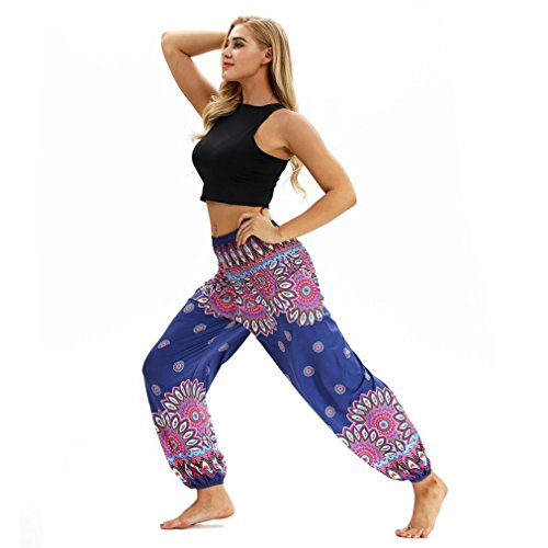 Elastique Jogging Pants Bleu Leg Large Taille Trousers Floral Grande Jambe d'intrieur Jogging Jeans Wide Dtente Pants Confortable Moonuy Femme Pants Imprim Et Yoga Fitness 1gB0q0