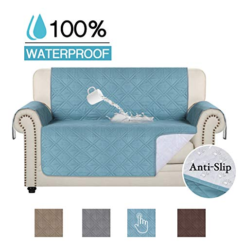 (100% Waterproof Loveseat Covers Anti-Slip Sofa Covers Slipcovers Quilted Furniture Protector for Kids and Pets 75 inch X 98 inch (Oversized Love Seat: Stone Blue))