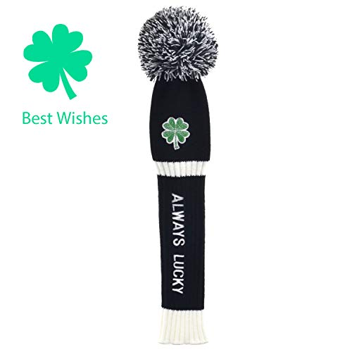 """(St. Patrick's Day Gift Original Green Clover Embroidered """"Always Lucky""""Knitted Golf headcovers for 460cc Driver Wood POM POM Head Club Covers for Taylormade Callaway Titleist Ping (With gift box))"""