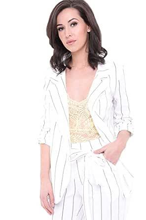 Fashion Corner Chaqueta de Traje - para Mujer Blanco Blanco ...