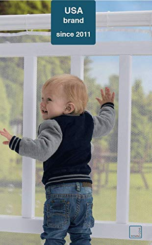 Roving Cove | Baby Safety Outdoor Railing Net | Balcony Deck Banister Guard | Baby Proofing Stairs Rail Screen Cover | Child Proof Patio Fence Shield | Safe Rail | Outside 10ft L x 3ft H | Pearl White