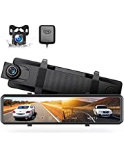 """4K Mirror Dash Cam 12"""" GPS Voice Control Rear View Mirror Camera 2160P+1080P Dash Cam Front and Rear Touch Screen Backup Camera, Night Vision Reverse Car Camera w/Parking Mode"""
