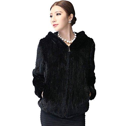 Black Mink Jacket (Women's Knitted Real Mink Fur Coat with Fur Hood Thick Warm Coat Full Sleeve V Neck US 10 (Black) - Fur Story)