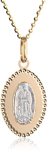 14k Gold Two-Tone Our Lady of Guadalupe Oval Medal Pendan...