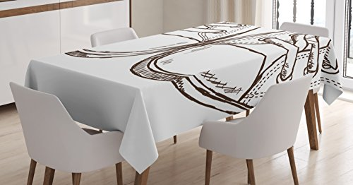 Ambesonne Doodle Tablecloth, Sneakers in Hand Drawing Style Casual Footwear Teenager Urban Lifestyle Theme, Dining Room Kitchen Rectangular Table Cover, 60 W X 90 L Inches, Dark Brown White ()