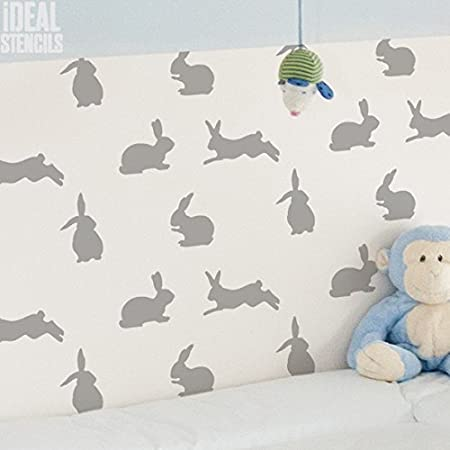 bunny rabbit nursery decor stencil rabbit pattern bespoke wallpaper