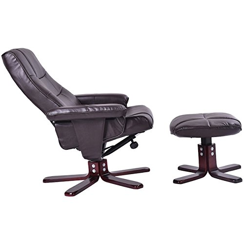 Executive PU Leather Recliner Seat Chair Thick Armrest With Ottoman Tall High Back Leisure Furniture 360 Degree Swivel Ergonomic Design Durable Steel Frame