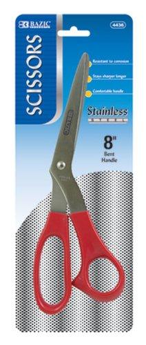 BAZIC 8-Inch Bent Handle Stainless Steel Scissors