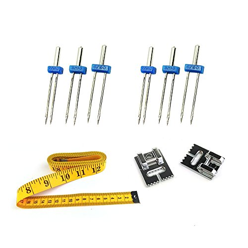 Foot Pintuck 7 Groove (Asayu 2 Set Twin Stretch Machine Needle Double Twin Needles Pins (3 Size Mixed 2.0/90 3.0/90 4.0/90) , 7 and 9 Groove Pintuck Presser Foot and 1 Pcs 118-Inch 300mm Tape Measure)