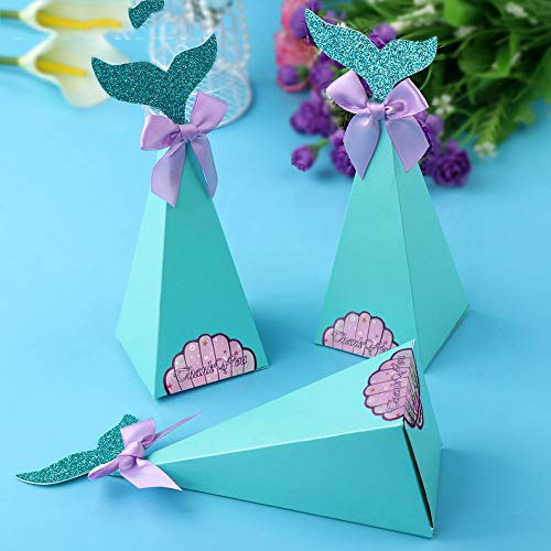 Xiaogongju 10Pcs Little Mermaid Gift Boxes Sweet Paper Candy Box Mermaid Birthday Party Decorations Kids Favor Boxes for Wedding]()