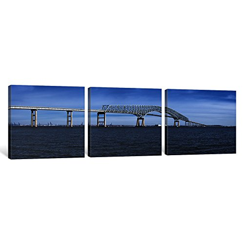"iCanvasART 3 Piece Bridge Across a River, Francis Scott Key Bridge, Patapsco River, Baltimore, Maryland, USA Canvas Print by Panoramic Images, 36 x 12""/0.75"" Deep"