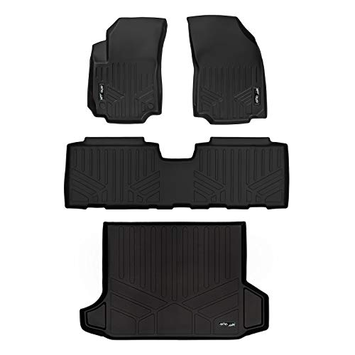 SMARTLINER Floor Mats 2 Rows and Cargo Liner Black for 2018-2019 GMC - Cargo Mat Black