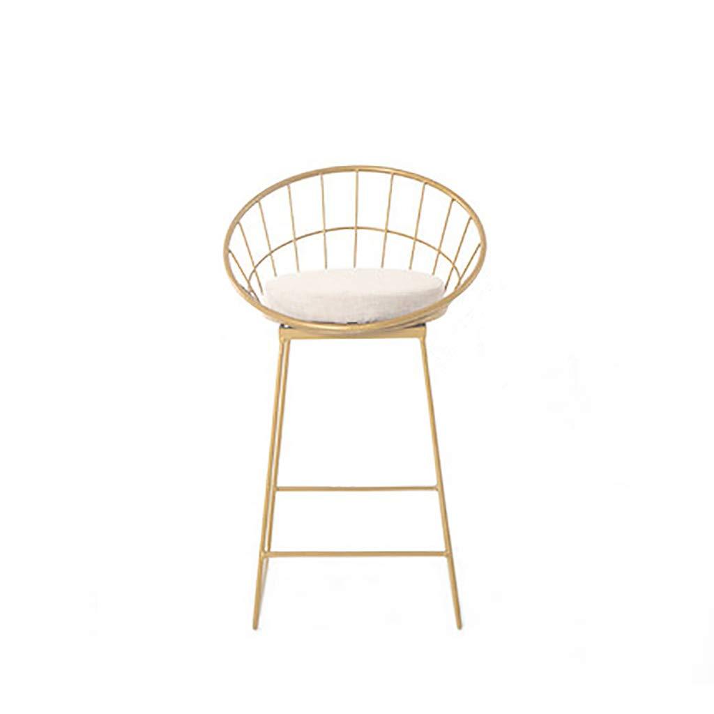 65CM Einfache Barhocker Schmiedeeisen Barhocker Goldhocker Moderne Esszimmerstuhl Metalldraht Nordic Barhocker Freizeit Café Tisch Stuhl mit Rückenlehne mit waschbaren Matte Kissen