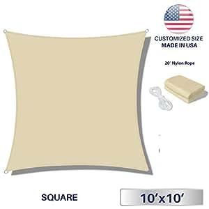 Windscreen4less 10'x10' cuadrado Terylene impermeable tejido toldo sol UV protección actualización de decoración para el hogar