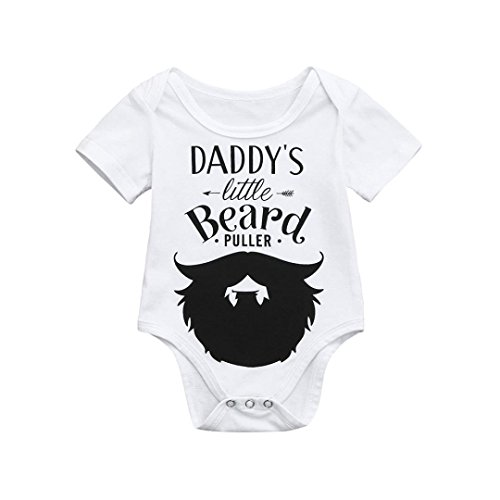 Clearance Sale Newborn Kids Baby Boys Girls Cotton blend Letter Floral Print Romper Jumpsuit Outfits Party Clothes (White, 12-18 -
