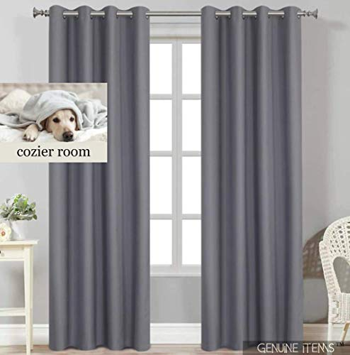 GENUINE ITEMS™ Bedroom Curtains 84 inch Length, Gray Curtains, Black Out Curtains Bedroom Drapes and Curtains, Blackout Thermal Curtains 84 inch Window Modern Curtain Blackout. 52 x 84 2 Panels