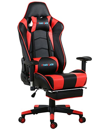 Soft Video Game - Storm Racer Gaming Chair Ergonomic Racing Style PU Leather Office Video Game Chair with Footrest (Red)