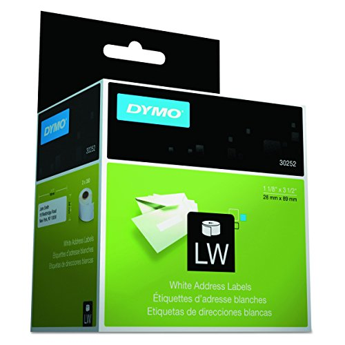 Dymo 30252 LabelWriter LW Adhesive White Mailing Address Labels 1 1/8in x 3 1/2in (28 x 89 mm); Retail Box With 2 Rolls of 350 Labels per Roll, For a Total of 700 Labels (Renewed)
