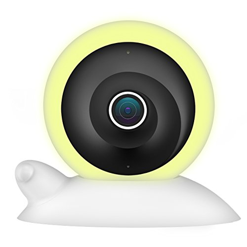 Womo Wireless Smart Panoramic WiFi IP Camera – 960P HD Video Baby Monitor –Night Vision Home Security Camera System, Loop Recording Stream with Night Light, Motion Detection (White)