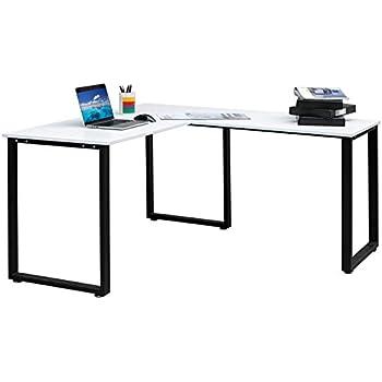 Amazon Com Merax 59 L Shapped Desk With Metal Legs