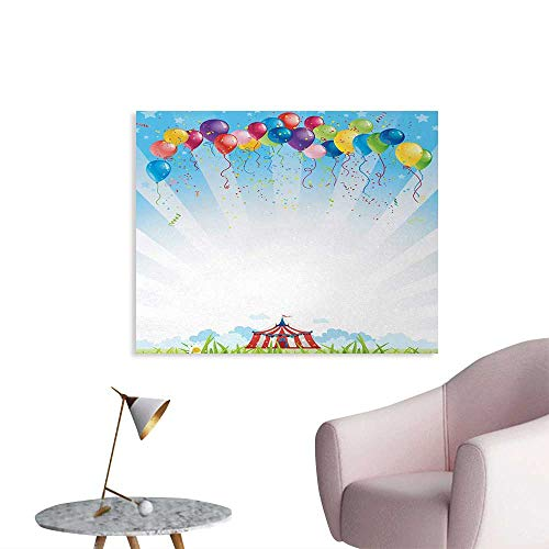 Tudouhoho Circus Decor Wall Poster Circus Under Clear Sky and Bunch of Balloons Wildflowers Grass Travel Home Decor Wall Multicolor W32 xL24
