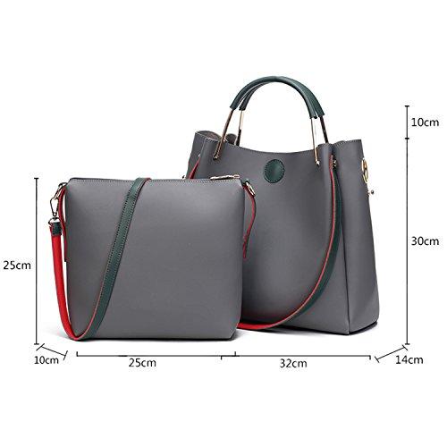 BYD mujeres alta capacidad bolsa de hombro Bolso de monedero de mensajero de leather bolso de hombro de moda de vendimia mujeres Bolso de anillo de metal 2 set verde
