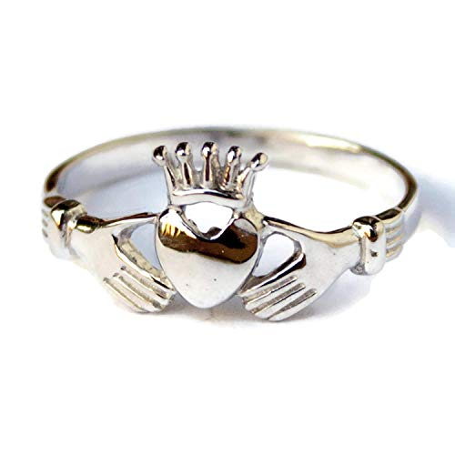 Love Forever Celtic Wedding Ring - Sterling Silver Irish Claddagh Ring Celtic Wedding Promise Rings Womens Claudaggh Clauddaugh Clauda Clauddagh Claughdah Cladah Band Ring Friendship Love Jewelry for Women Girls Handmade