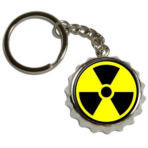 Radioactive Nuclear Warning Symbol - Nickel Plated Metal Popcap Bottle Opener Keychain Key Ring