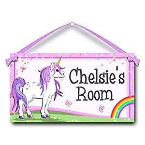 Kids Door Sign Personalized Unicorn with Rainbow