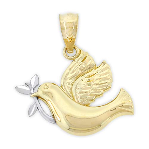 (Charm America - Gold Peaceful Dove Charm - 14 Karat Solid Gold )
