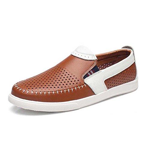 ZXCV Zapatos al aire libre Los zapatos ocasionales de los hombres del verano huyen los zapatos de cuero de cuero de la manera de los hombres respirable Naranja