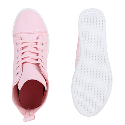 Keilabsatz Brito mit Wedges Flandell Sneaker Stiefelparadies Glitzer Rosa Damen Metallic w7THqqf