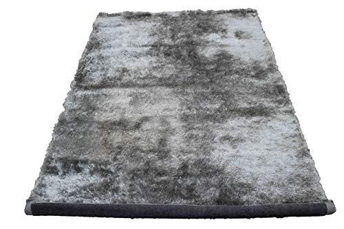 Fluffy Fuzzy Furry Shag Shaggy Shimmer Modern Contemporary Thick Plush Soft Pile New Living Room Bedroom Area Rug Carpet Silver Light Grey Light Gray Two Tone Color 5x7 Sale (Aroma ()