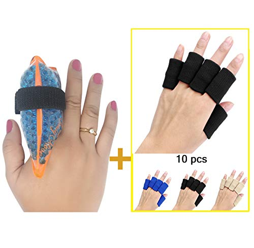 BodyMoves Finger Hot and Cold Ice Pack Plus Adult Finger Brace Splint Sleeve Thumb Support Protector Cushion Pressure Safe Elastic Breathable Stabilizers (Midnight Black)