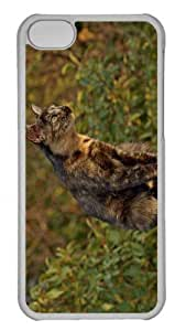 Customized iphone 5C PC Transparent Case - Spotted Cat Personalized Cover