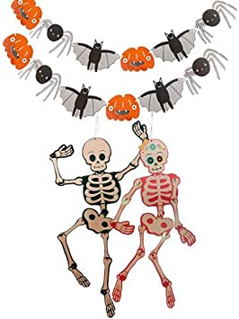 8 Happy Halloween Creepy Friends Party Hanging Paper Cutout String Decorations